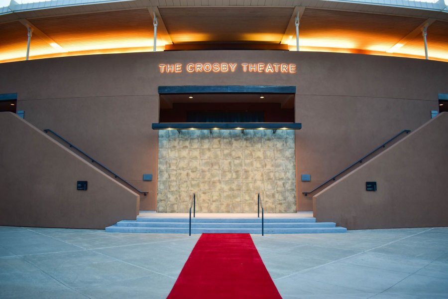 Front of the Crosby Theatre with red carpet on display