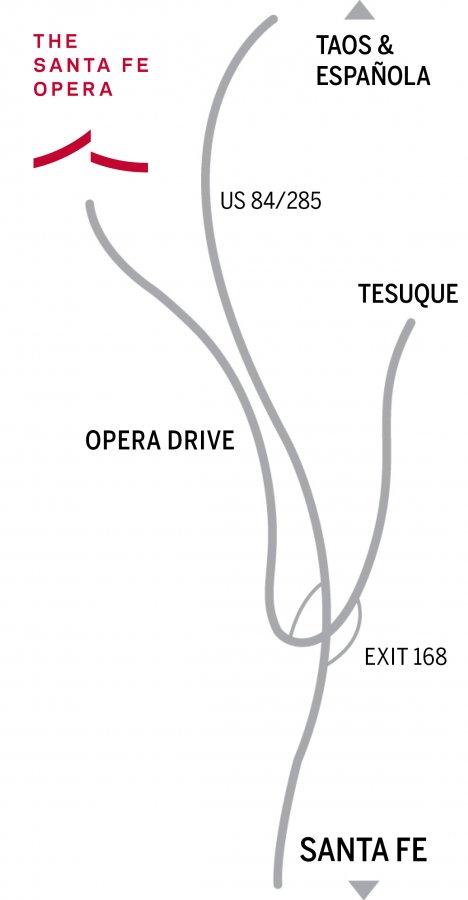Map to the Santa Fe Opera